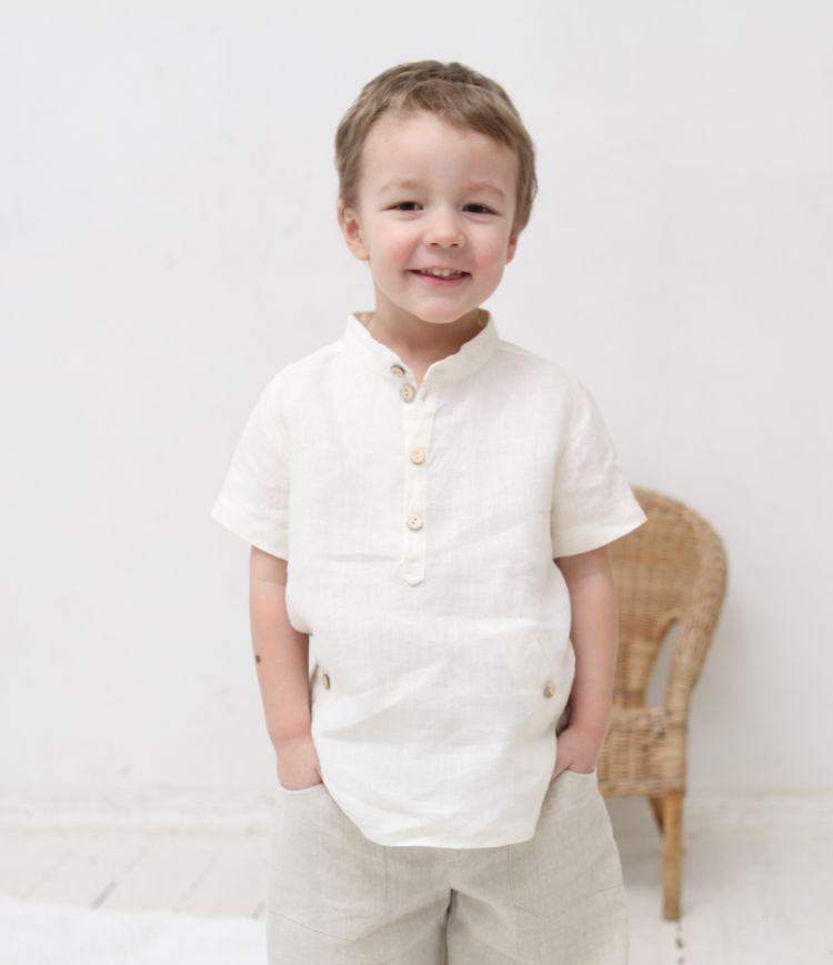 Infant Boys Mandarin Collar Shirt أبيض
